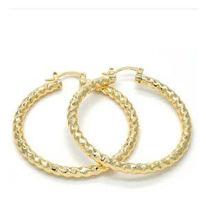 14ktgf etched and rope hoop earrings